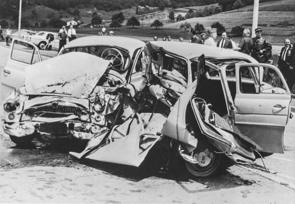 Collision frontale vers 1950